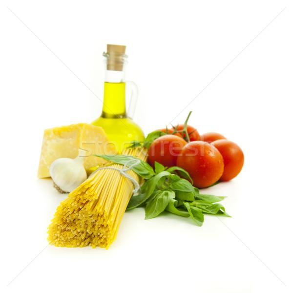 Ingredients for Italian cooking: basil, tomato, parmesan, garlic Stock photo © Taiga