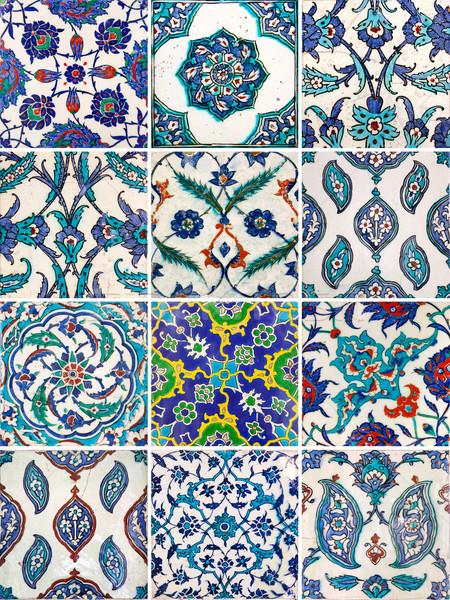 Set of ancient traditional handmade tiles - Islamic ornaments Stock photo © Taiga