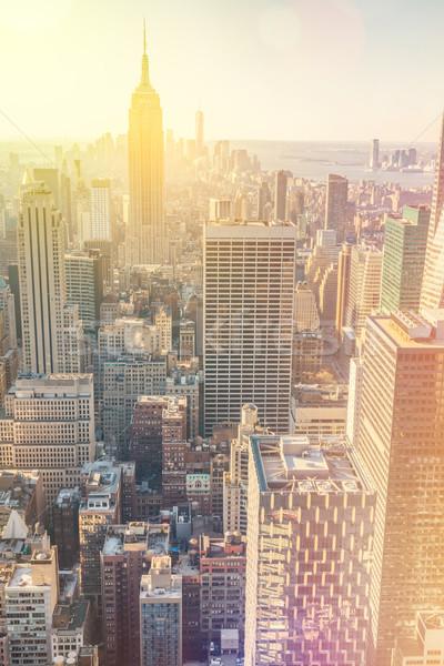 New York City Manhattan centrum skyline vintage stijl Stockfoto © Taiga