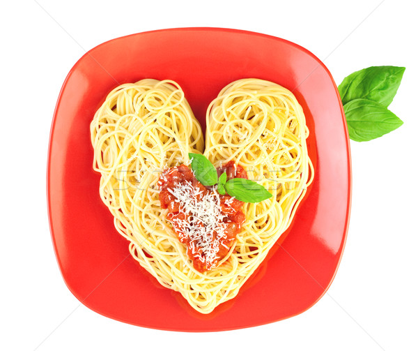 I love Pasta / Spaghetti isolated on white / Heart Shape Stock photo © Taiga