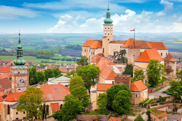 Old European Town with castle and clock Stock photo © Taiga