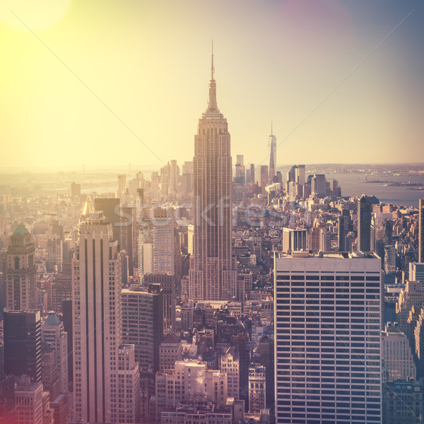 Aerial view of Manhattan skyline at sunrise, New York City, USA Stock photo © Taiga