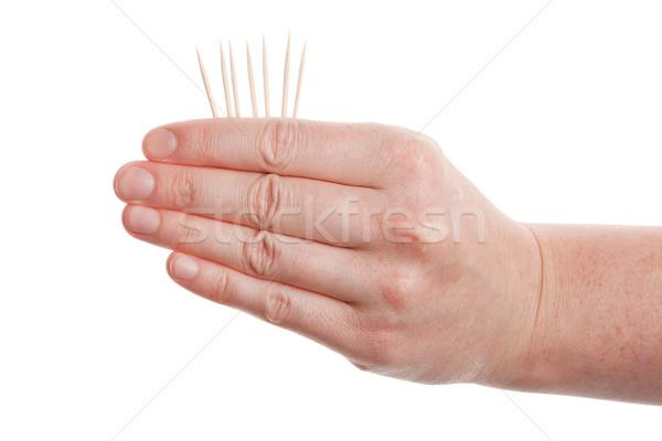 Foto stock: Mão · isolado · branco · jogar · jogo · dedo