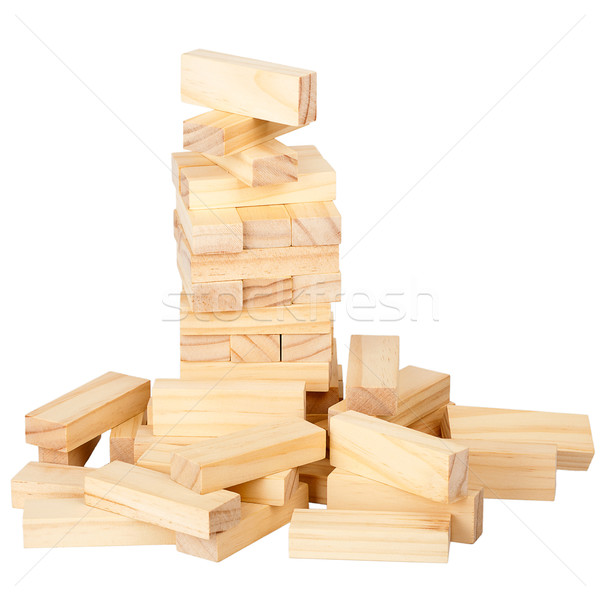 Stock photo: Collapsed wooden blocks tower