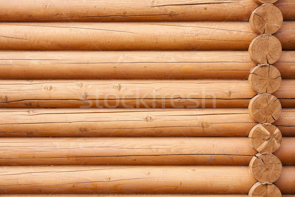 Stock photo: Wall from logs