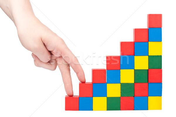 Hand klimmen naar boven vrouwelijke houten speelgoed blokken Stockfoto © Taigi