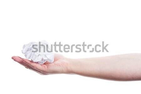Hand holding crumpled paper Stock photo © Taigi