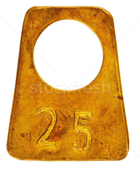 Ancient brass cloakroom label with number 25 Stock photo © Taigi