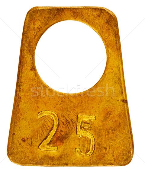 Antigo latão etiqueta número 25 isolado Foto stock © Taigi
