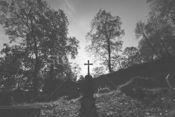 Monochroom afbeelding kruis kerkhof donkere film Stockfoto © Taigi
