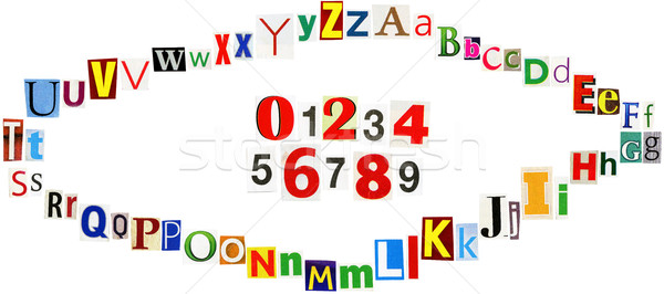 Stock photo: Colorful newspaper clipings alphabet