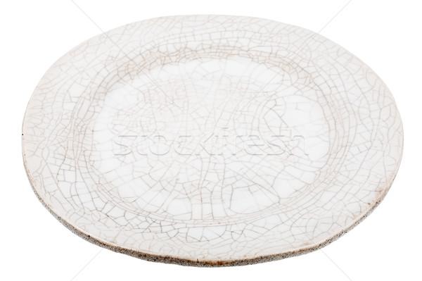 Witte handgemaakt aardewerk plaat geïsoleerd voedsel Stockfoto © Taigi