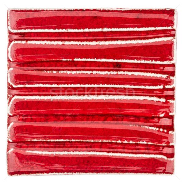 Kézzel készített piros kerámia csempe izolált fehér Stock fotó © Taigi