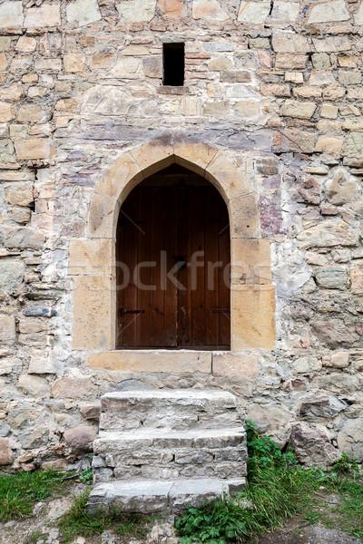 Сток-фото: лестницы · двери · каменной · стеной · старые · текстуры