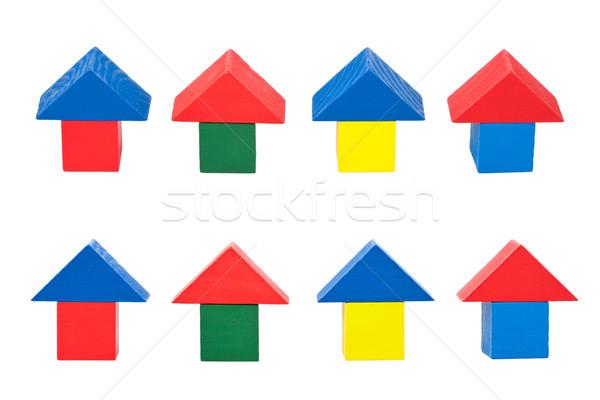Fa játék kockák fehér ház fa oktatás Stock fotó © Taigi