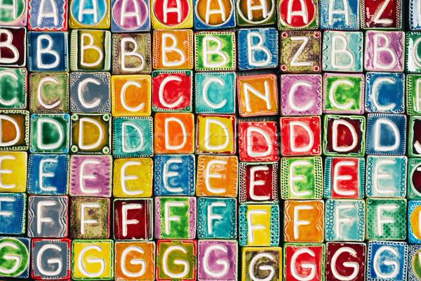 Handgemaakt keramische alfabet achtergrond kleurrijk brieven Stockfoto © Taigi