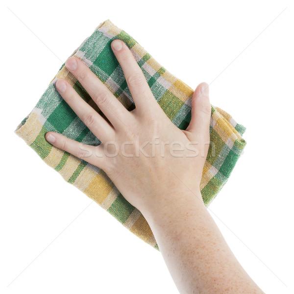 Kéz takarítás ruha kockás izolált fehér Stock fotó © Taigi