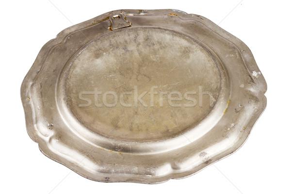 Unterseite alten Platte isoliert weiß Essen Stock foto © Taigi