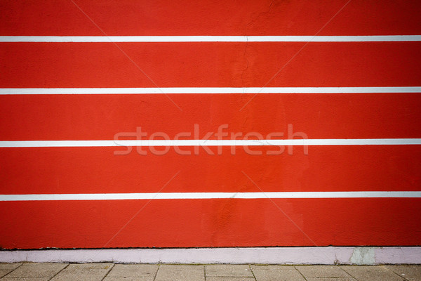 Red and white lined plaster wall Stock photo © Taigi
