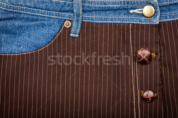 Jeans and lined brown fabric textures Stock photo © Taigi
