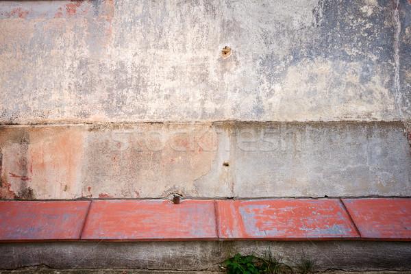 Oude gips muur gebarsten Rood tin Stockfoto © Taigi