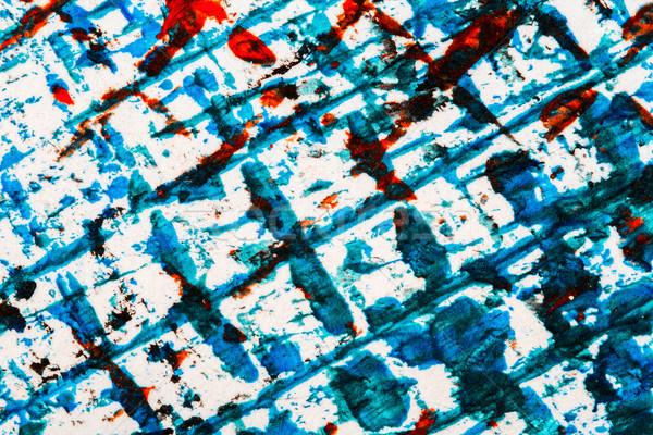 Absztrakt művészet kéz festett kék piros Stock fotó © Taigi