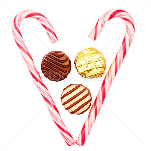 Natal doce coração três chocolate Foto stock © Taigi
