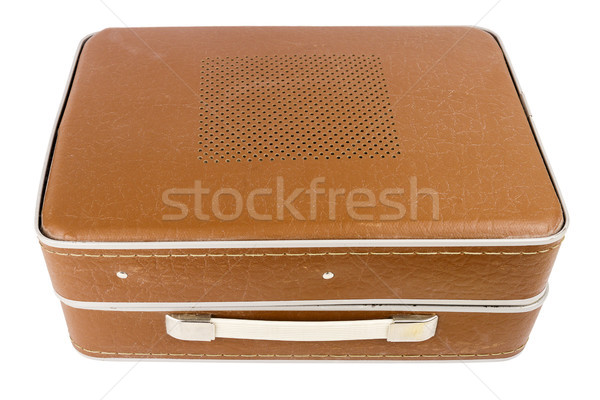 Zárva klasszikus bőrönd lemezjátszó izolált fehér Stock fotó © Taigi