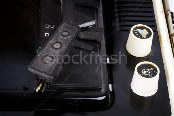 Irányítópanel klasszikus bőrönd lemezjátszó szovjet közelkép Stock fotó © Taigi