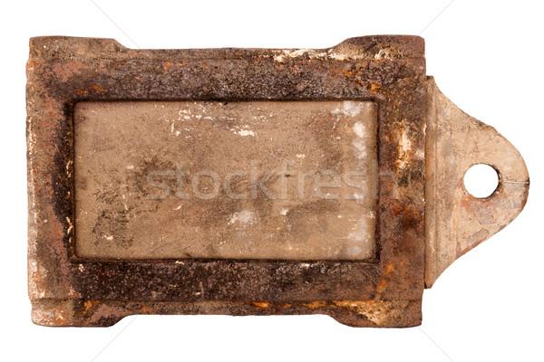 Stockfoto: Roestige · vintage · kachel · geïsoleerd · witte · textuur