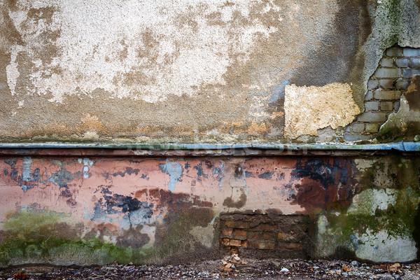 Vieux plâtre mur patiné fissuré étain Photo stock © Taigi