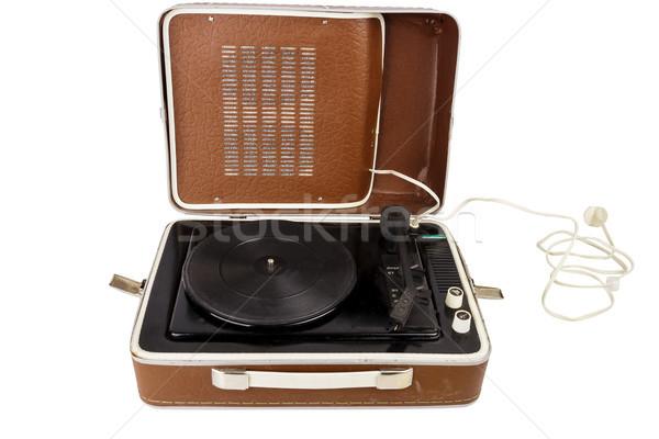 Open vintage suitcase turntable Stock photo © Taigi