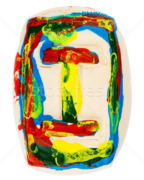 Kleurrijk handgemaakt witte klei letter i geschilderd Stockfoto © Taigi