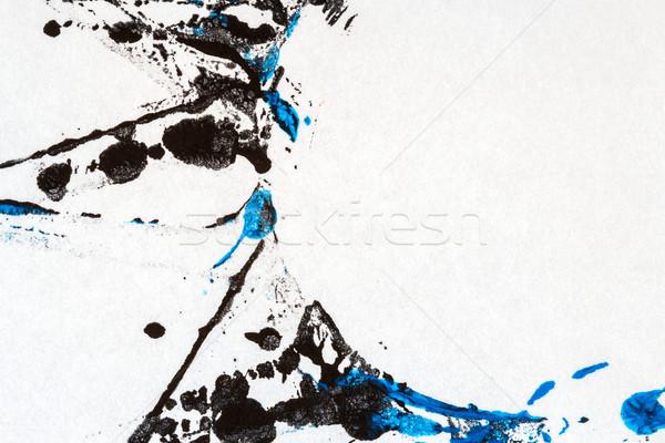 Absztrakt művészet kéz festett fekete kék Stock fotó © Taigi