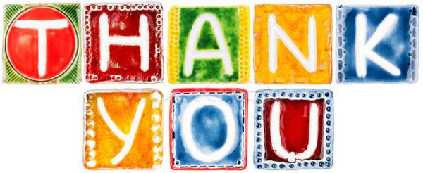 Woorden dank u keramische brieven geïsoleerd witte Stockfoto © Taigi