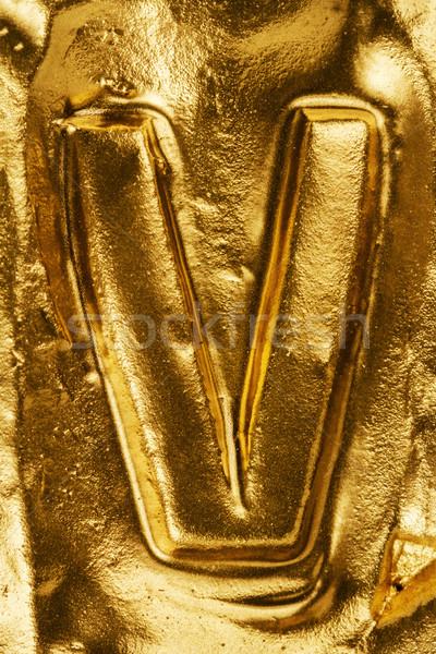 Golden letter V Stock photo © Taigi