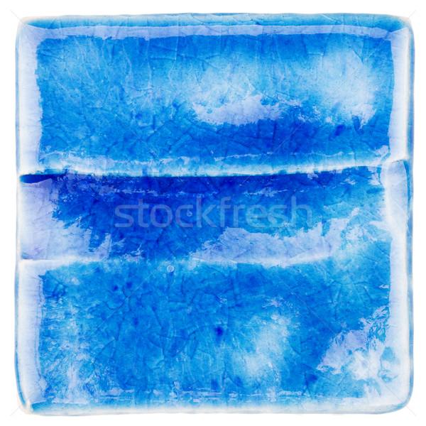 Handgemaakt keramische tegel Blauw geïsoleerd witte Stockfoto © Taigi