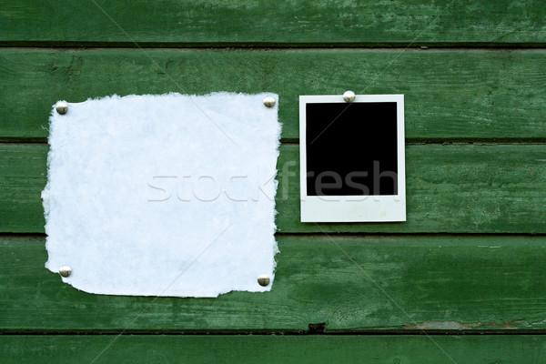 ストックフォト: ハンドメイド · 紙 · インスタント · 写真 · 緑 · 木製