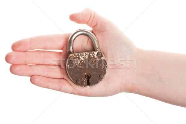Hand holding old padlock Stock photo © Taigi