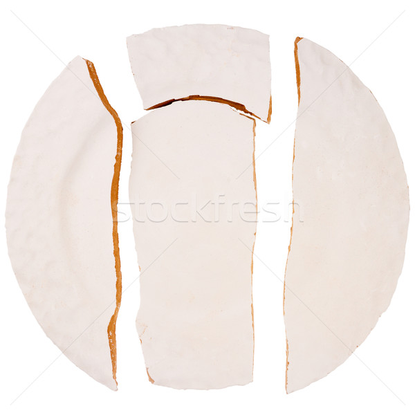 Screpolato piatto isolato bianco texture oggetto Foto d'archivio © Taigi