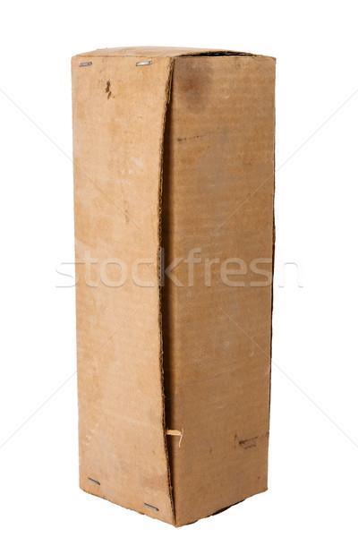 Brązowy karton odizolowany biały starych zakurzony Zdjęcia stock © Taigi
