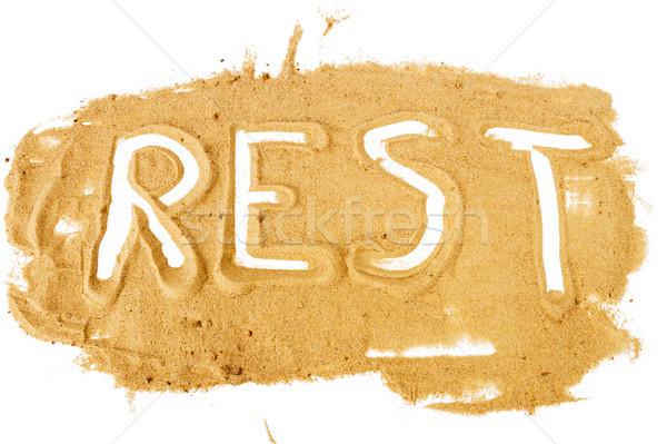 Kelime yazılı sarı kum yalıtılmış Stok fotoğraf © Taigi