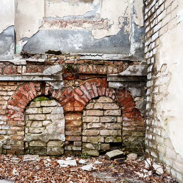 Old abandoned wall with bricked up windows Stock photo © Taigi