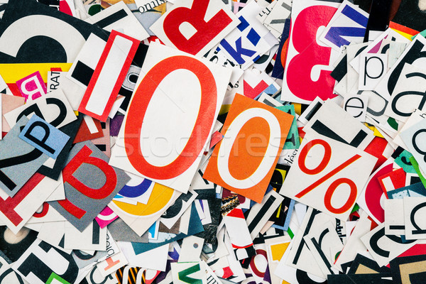 Een honderd procent abstract brieven papier Stockfoto © Taigi