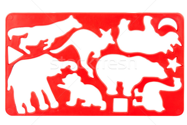 古い プラスチック ステンシル 赤 孤立した 白 ストックフォト © Taigi