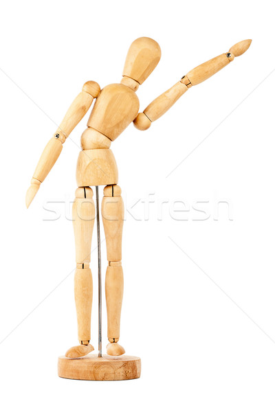 Wooden dummy with raised hand Stock photo © Taigi