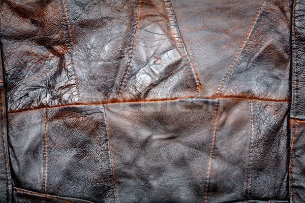 Cuir patchwork tissu brun texture résumé Photo stock © Taigi