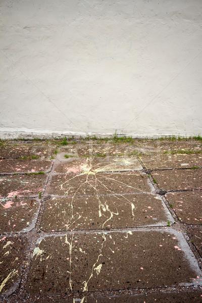 Edad yeso pared salpicaduras pintura pavimento Foto stock © Taigi