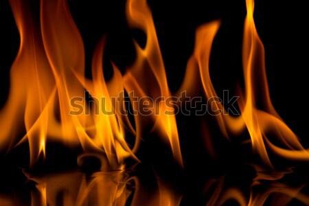 Yangın Alevler yalıtılmış siyah soyut arka plan Stok fotoğraf © Taigi
