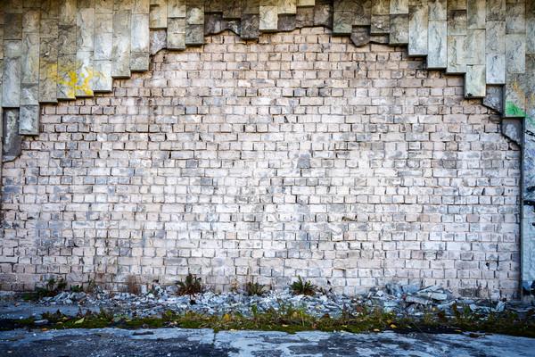 Blanco pared de ladrillo lado caminata pared azul Foto stock © Taigi